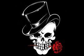Skull, rose, anonymous