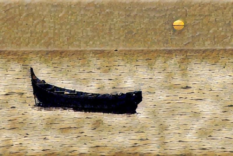 boat, alone, sea, sunset