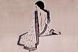 woman, sitting, sari